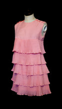 Vintage 1960s Pink Mini Ruffle Dress