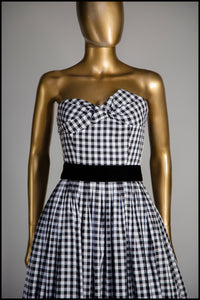 Black and White Gingham Ballgown Dress - S