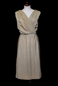 Vintage 1950s Gold Metallic Wiggle Dress