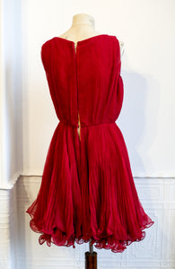 Vintage 1960s Cherry Red Chiffon Cocktail Dress