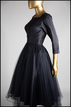 Raven - Black silk and tulle dress S/M