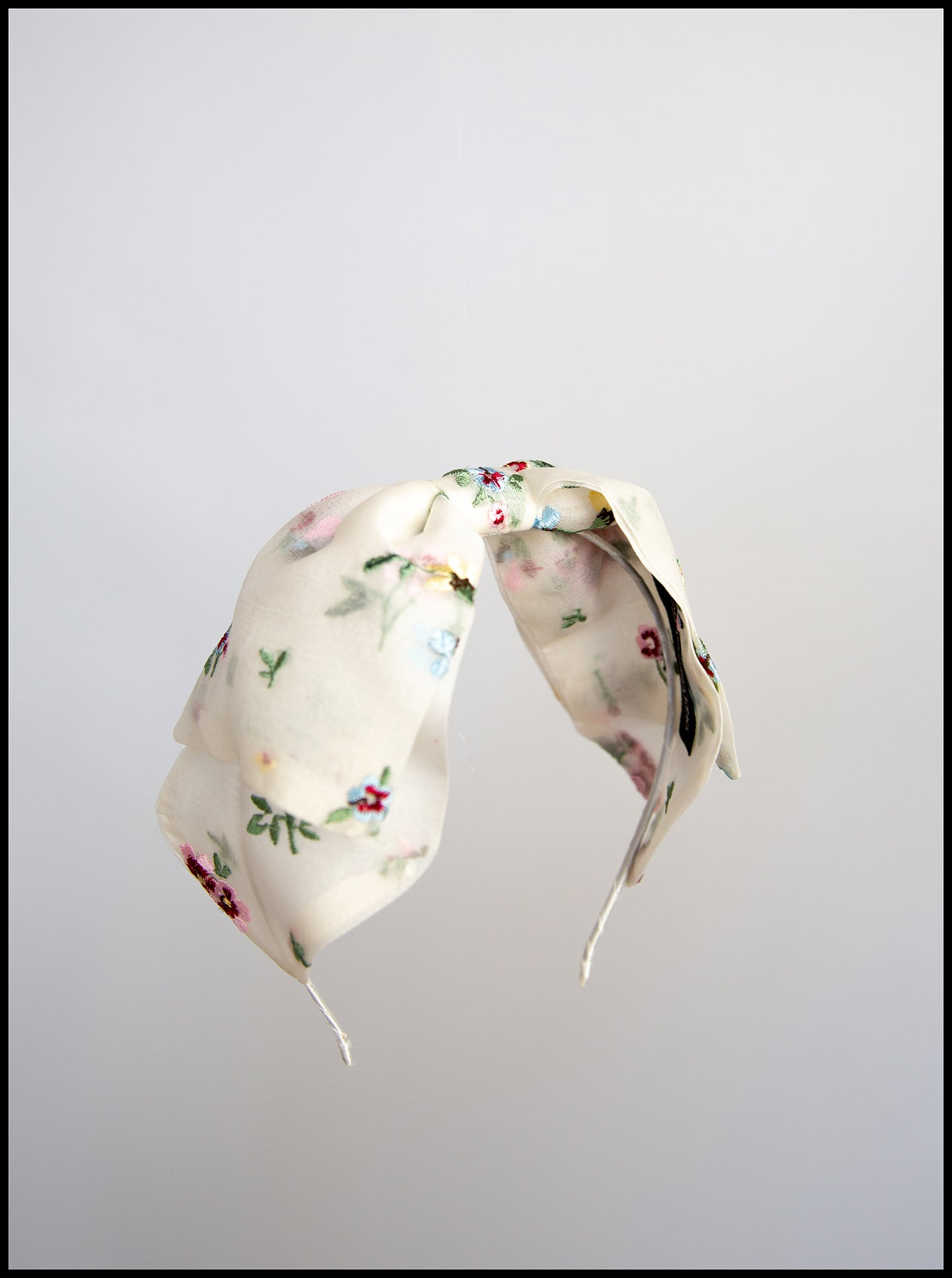 Embroidered Floral Silk Bow Headband