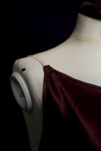 Vintage 1930s Plum Bias Purple Cut Satin Slip