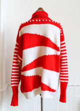 Vintage 1980s Red and White Hand Knit Sweater