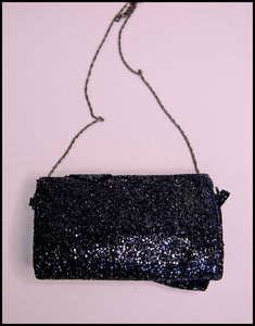 Crawford Black Glitter Bow Clutch Bag