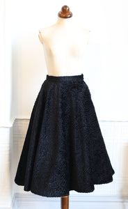 Vintage 1980s Black Velvet Swing Skirt