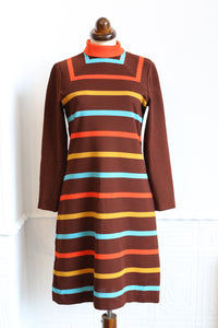 Vintage 1970s Brown Stripe Mini Dress