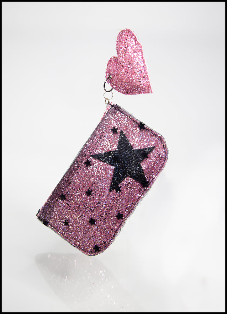 Pink Star Glitter Tulle Pouch Purse