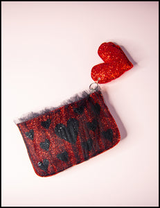 Red Glitter Heart Tulle Pouch Purse