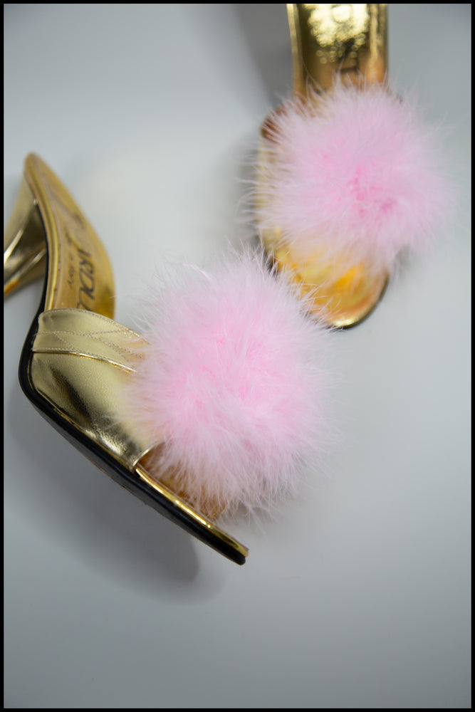 Pink Feather Pompom Shoe Clips