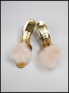 Cream Feather Pompom Shoe Clips