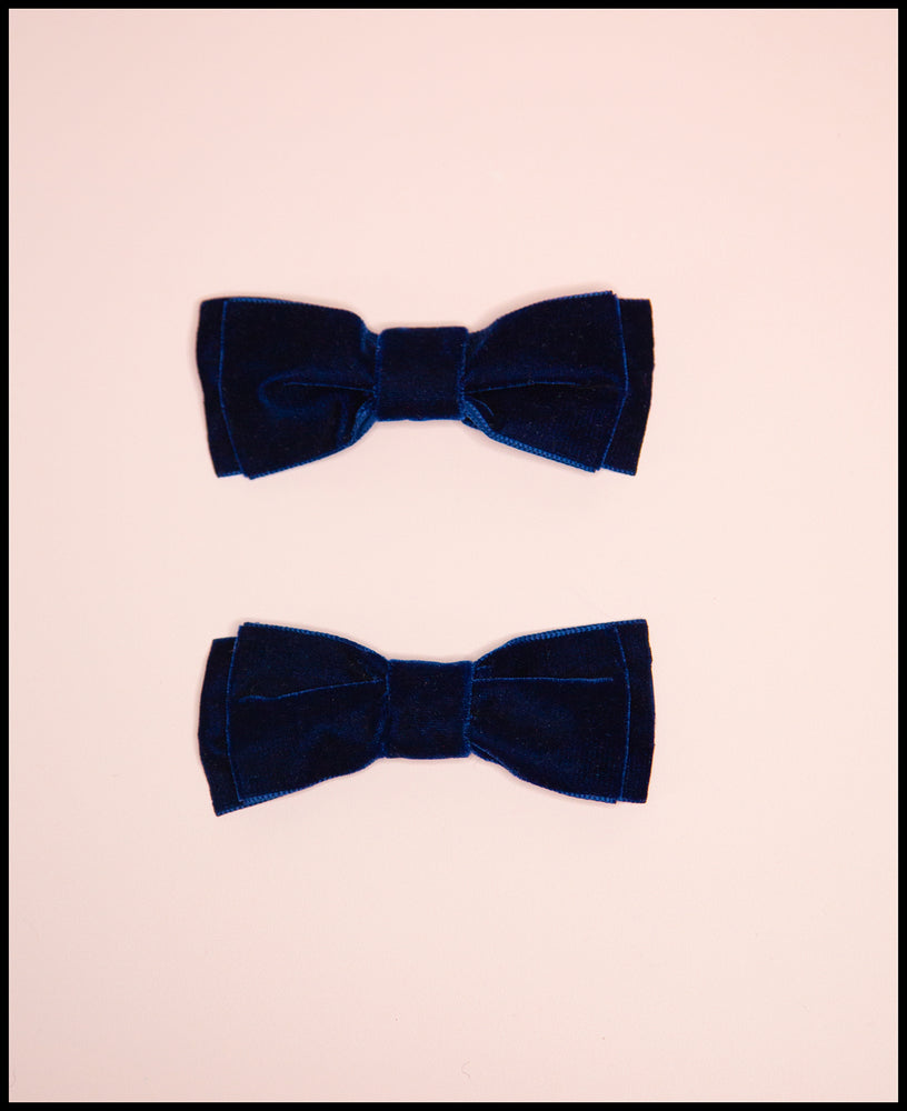 Navy Blue Velvet Bow Shoe Clips