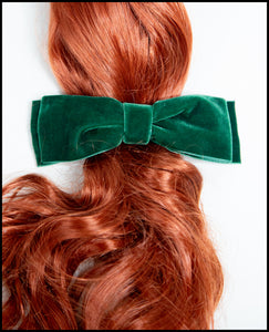 Green Velvet Hair Bow Barrette