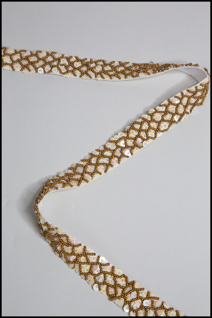 Antique Gold Fish Scale Beaded Belt
