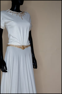 1940 - Beaded Crepe Jersey Dress - S/M
