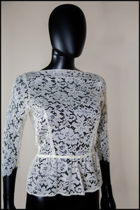Cream Backless Lace Peplum Top