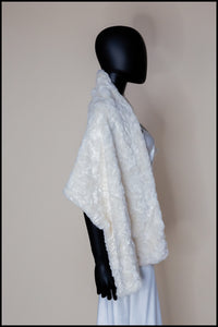 Ivory Faux Fur Ermine Bridal Old Hollywood Wrap