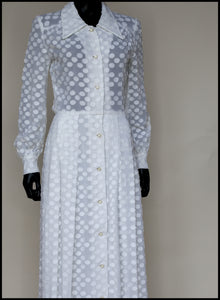 Vintage 1970s White Dot Maxi Dress