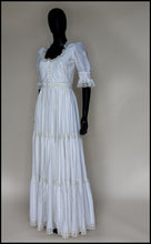 Vintage 1970s Ivory Cream Cotton Lace Maxi Dress