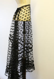 Vintage 1920s Black Lace Skirt