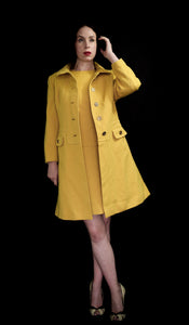 Vintage 1960s Yellow Wool Dress Suit