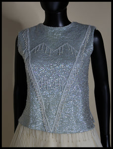Vintage 1960s Blue Sequin Top