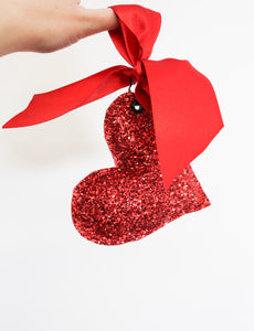 Keychain - Big Red Glitter Heart