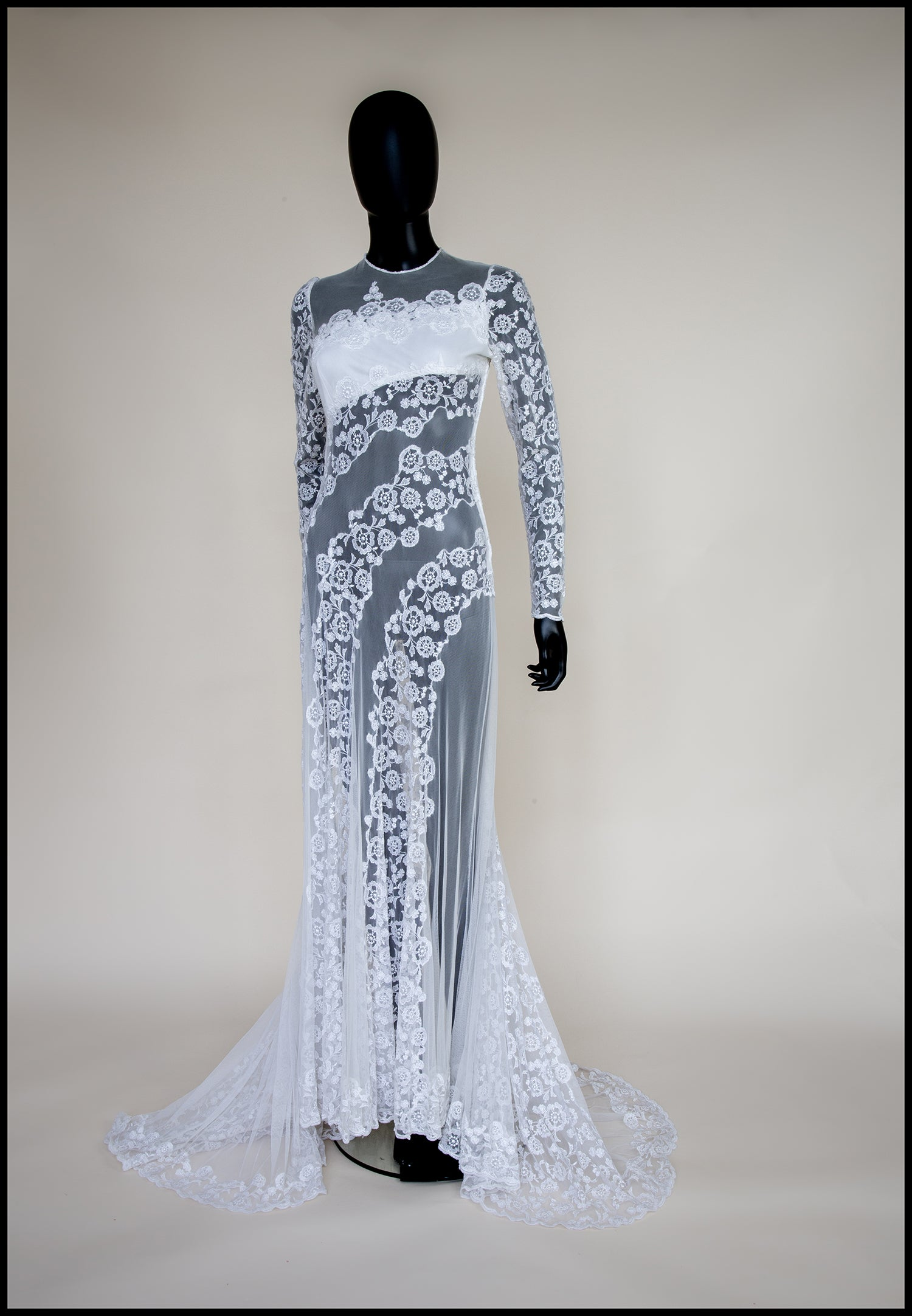 vintage white embroidered sheer lace 1930s style gown alexandra king