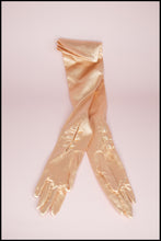 Vintage 1950s Peach Satin Long Gloves