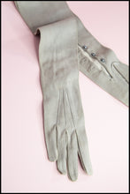 Vintage 1950s Grey Leather Long Gloves