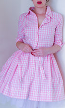 Pink Gingham Cotton Mini Shirt Dress