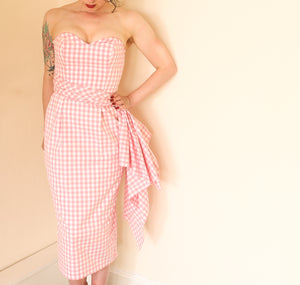Gingham Pink Vichy Wiggle Dress