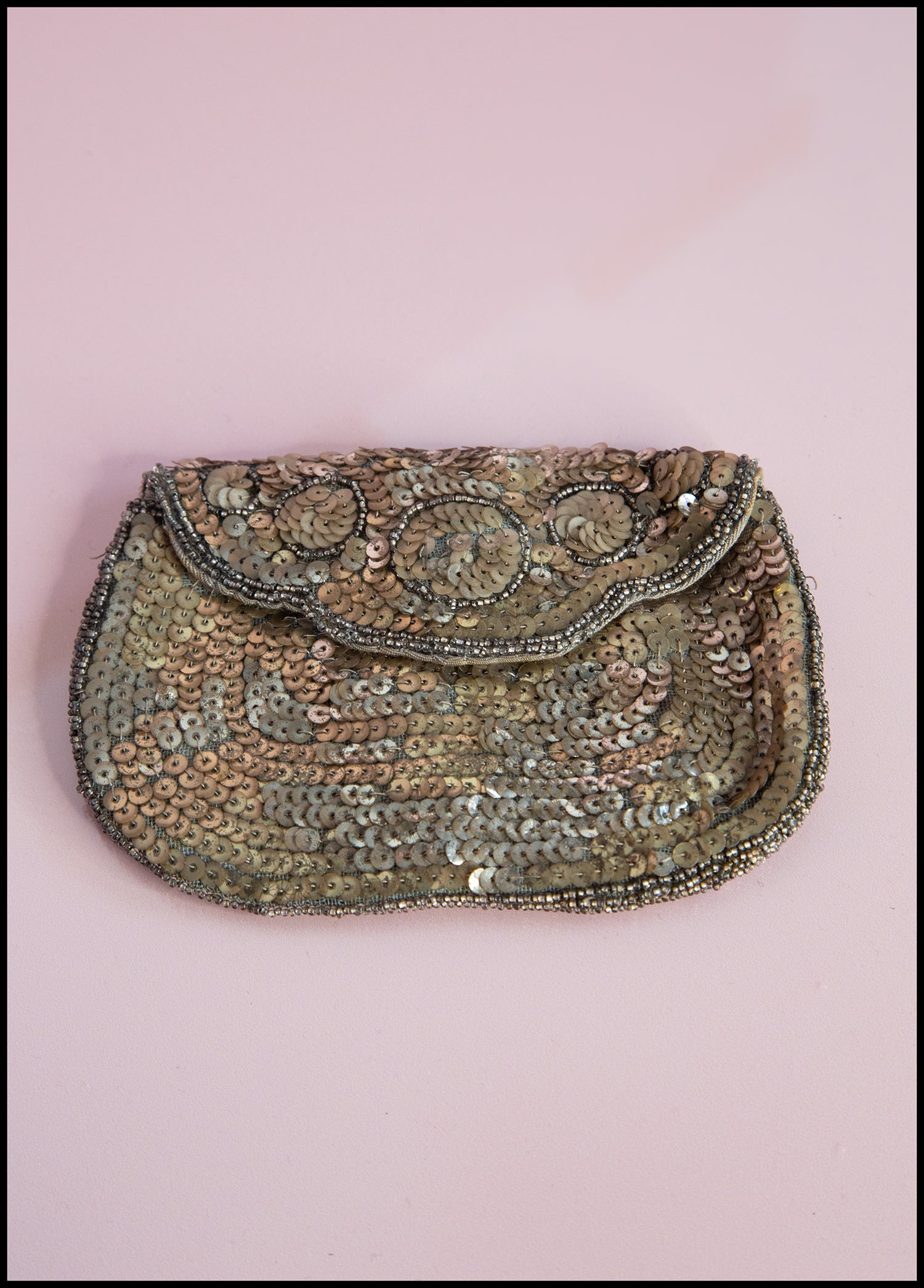 Gold 1920/'s Sequin and Bugle Bead Purse