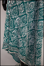 Vintage 1960s Mint Green Phulkari Embroidered Shawl