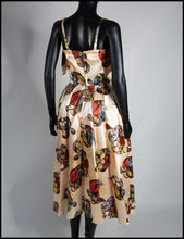Vintage 1940s Gold Floral Print Satin Dress