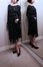 Vintage 1980s Black Beaded Silk Dress
