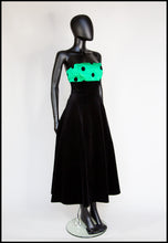 Vintage 1980s Black Velvet Green Polka dot Dress