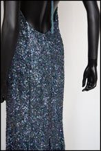 Vintage 1980s Blue Green Sequin Mermaid Dress