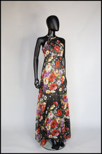 Vintage 1970s Rose Floral Chiffon Maxi Dress