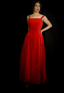 Vintage 1950s Red Velvet Ballgown Dress