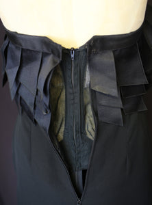 Vintage 1990s Chanel couture black crepe ribbon dress