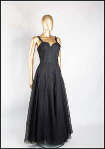 Vintage 1940s Black Lace Gown
