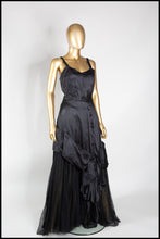 Vintage 1940s Black Satin Tulle Gown