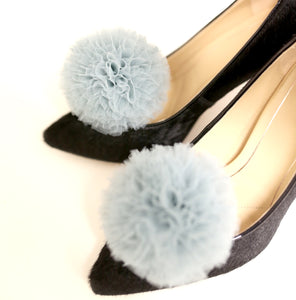 Shoe Clips - Dove Tulle Pompom Shoe Clips