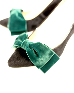 Shoe Clips - Black Velvet Bow Shoe Clips