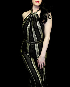 Vintage 1970s Black and Gold Jumpsuit