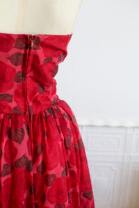 RESERVED - Vintage 1950s Red Rose Ballgown Dress