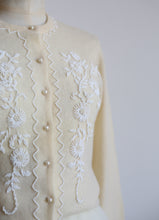 Vintage 1960s Cream Lambswool Beaded Cardigan