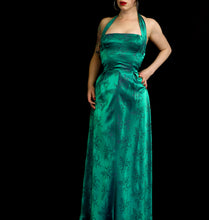 Vintage 1950s Green Brocade Gown