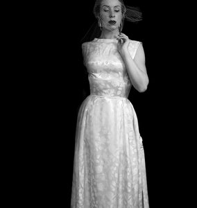 Vintage 1950s Damask Ivory Wedding Dress